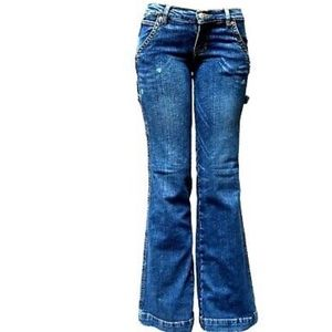 Women's Bootcut Stretch Blue Jeans Maria V-33858S